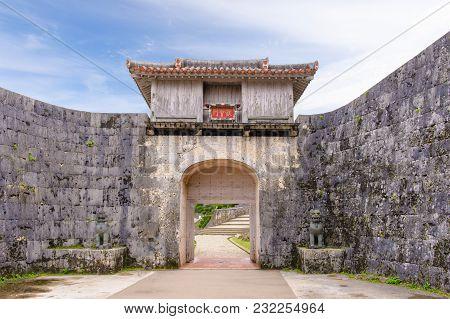 Facade View Of Kankaimon Gate In Okinawa, Japan
