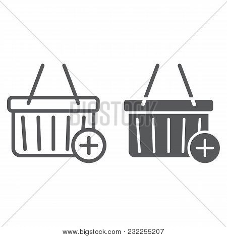 Add To Cart Line And Glyph Icon, E Commerce And Marketing, Retail Box Sign Vector Graphics, A Linear