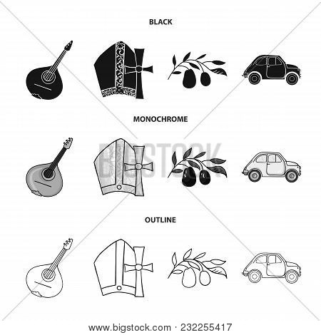 Mandolin, Papa, Olive, Retro Auto.italy Country Set Collection Icons In Black, Monochrome, Outline S