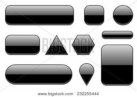 Black Glass Buttons. Geometric Shaped 3d Icons Set. Vector Ilustration Isolated On White Background