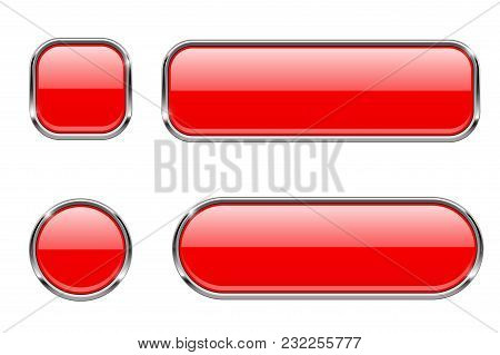 Red Glass Buttons With Chrome Frame. Set Of Blank Shiny 3d Web Icons. Vector Illustration Isolated O