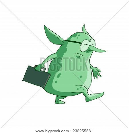 Colorful Vector Illustration Of A Cartoon Office, Corporate Troll Or Goblin