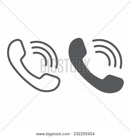 Phone Call Line And Glyph Icon, Communication And Support, Telephone Sign Vector Graphics, A Linear