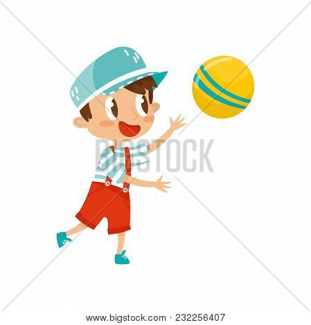Little Boy Plaing With Ball, Cute Cartoon Character Vector Illustration Isolated On A White Backgrou