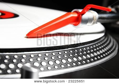 Turntable Playing Viyl Record With Music