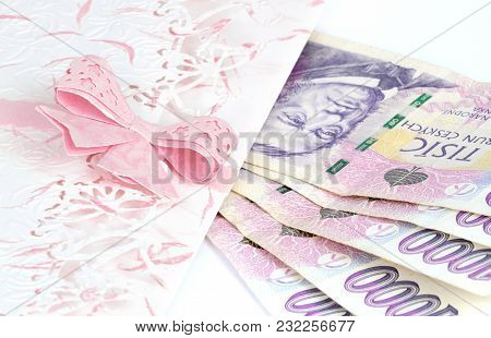Decorative Gift Envelope And Czech Banknotes Money Currency Isolated On White Background