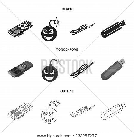 Video Card, Virus, Flash Drive, Cable. Personal Computer Set Collection Icons In Black, Monochrome,