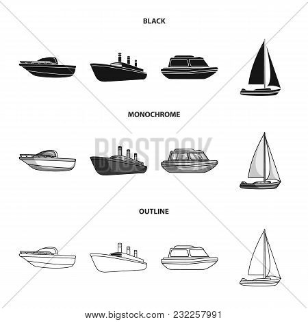 Protection Boat, Lifeboat, Cargo Steamer, Sports Yacht.ships And Water Transport Set Collection Icon