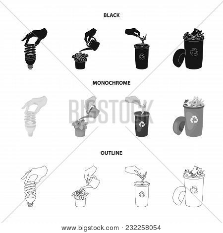 Energy-saving Light Bulb, Watering A Houseplant And Other  Icon In Black, Monochrome, Outline Style.