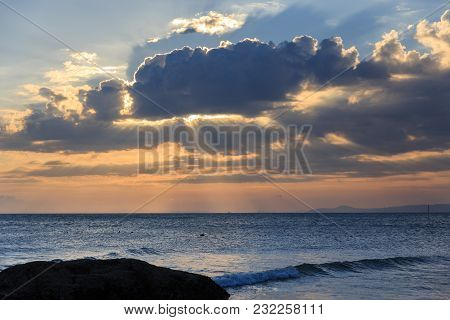 Scenic View Of Sunset Muine, Vietnam. Beautiful Cloudscape