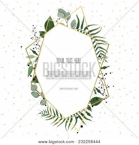 Floral Wreath With Green Eucalyptus Leaves, Flower Rose, Anemone . Frame Border With Copy Space. Eps