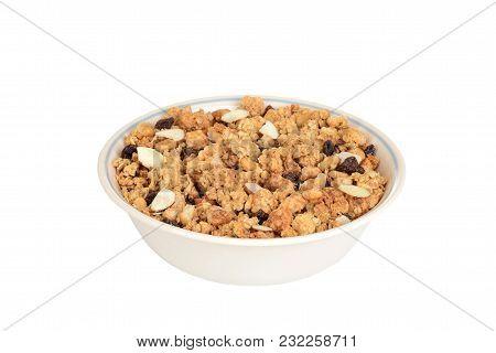 Closeup Bowl Of Granola Raisin Almond Cereal