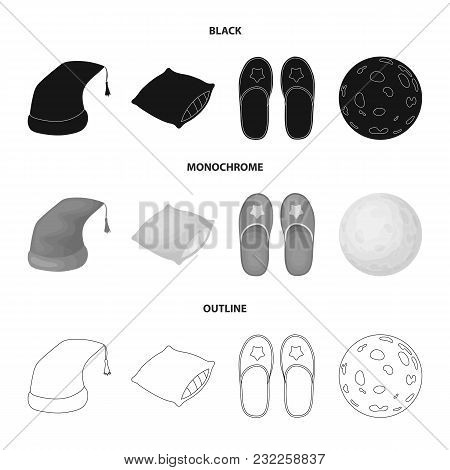 Night Cap, Pillow, Slippers, Moon. Rest And Sleep Set Collection Icons In Black, Monochrome, Outline