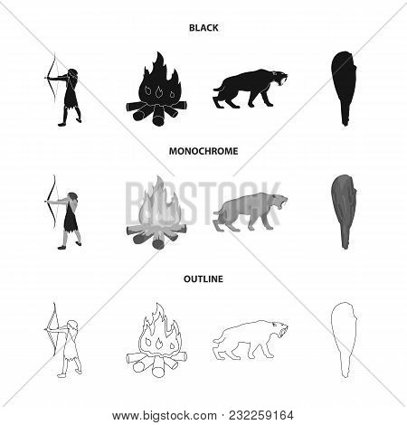Man, Hunter, Onion, Bonfire .stone Age Set Collection Icons In Black, Monochrome, Outline Style Vect