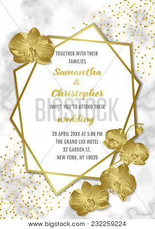 Wedding Luxury Invitation Floral Card With Gold Geometric Frame And Orchids On Marble Background. Fa