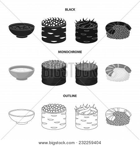 Bowl Of Soup, Caviar, Shrimp With Rice. Sushi Set Collection Icons In Black, Monochrome, Outline Sty