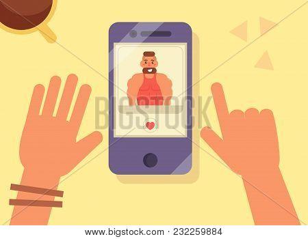 Online Dating. Man On Screen. Woman Hands. Vector. Cartoon Isolated Art Flat