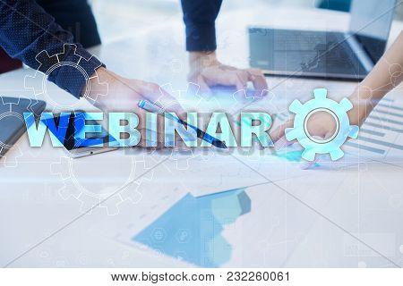 Webinar. E-learning Online Education Concept. Personal Development. Virtual Screen