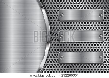 Metal Perforated Background With Brushed Iron Plates. Vector 3d Illustration