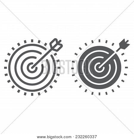 Target Line And Glyph Icon, Development And Business, Dartboard Sign Vector Graphics, A Linear Patte