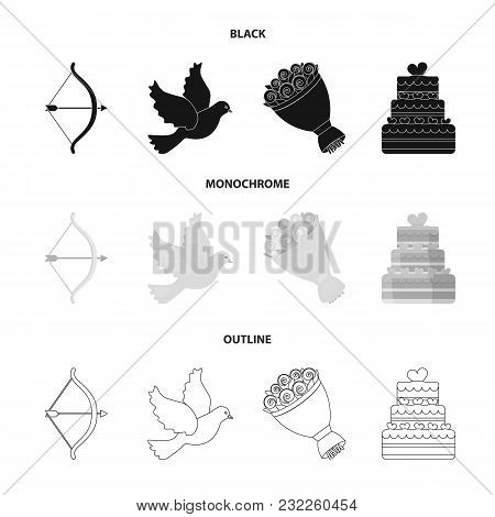 Arrow Cupid, Dove, Bouquet Of Flowers, Wedding Cake. Wedding Set Collection Icons In Black, Monochro