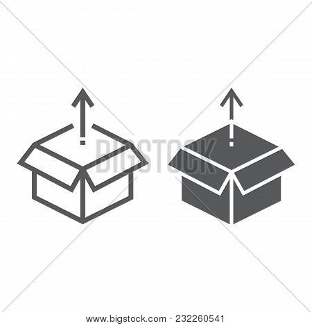 Product Release Line And Glyph Icon, Development And Business, Open Box Sign Vector Graphics, A Line