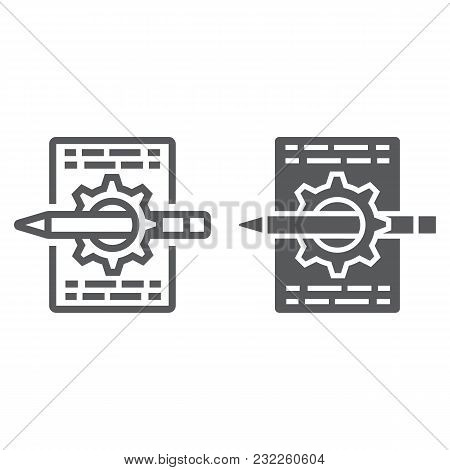Content Management Line And Glyph Icon, Development And Business, Seo Sign Vector Graphics, A Linear