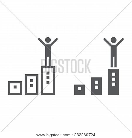 Success Line And Glyph Icon, Development And Business, Winner Sign Vector Graphics, A Linear Pattern