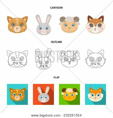 Cat, Rabbit, Fox, Sheep. Animal Muzzle Set Collection Icons In Cartoon, Outline, Flat Style Vector S