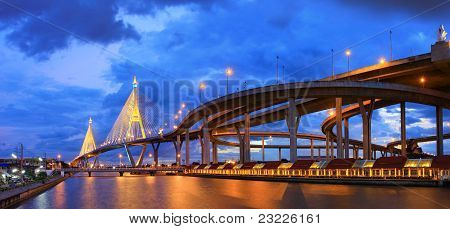 Panorama Industrial Circle Bridge in Bangkok,
