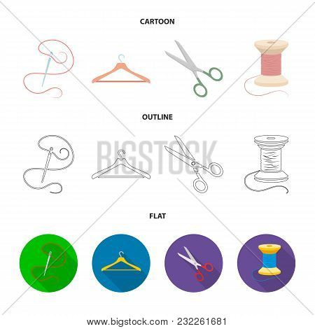 Thread, Reel, Hanger, Needle, Scissors.atelier Set Collection Icons In Cartoon, Outline, Flat Style