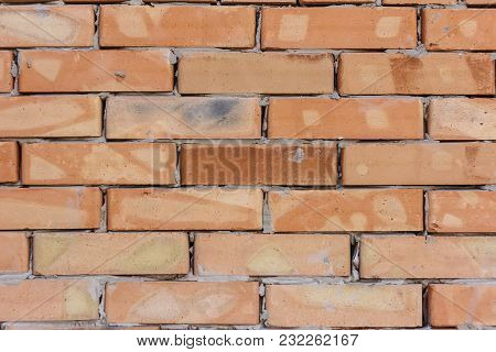 Vintage Old Brick Wall Texture. Grunge Red White Stonewall Background. Distressed Wall Surface. Grun