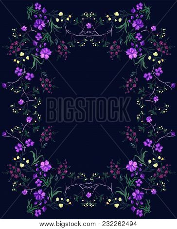 Botanical Pattern With Cherry And Flowers. Vector Floral Motifs For Fabric Print And Embroidery.
