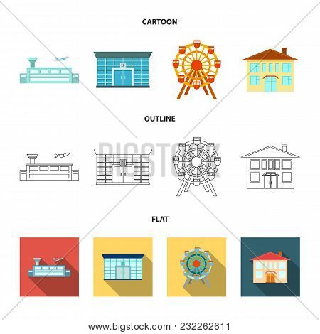 Airport, Bank, Residential Building, Ferris Wheel.building Set Collection Icons In Cartoon, Outline,