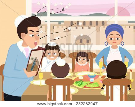 Reading The Haggadah, Jewish  Family At Feast Of Passover, Vector Cartoon Illustration In Flat Style