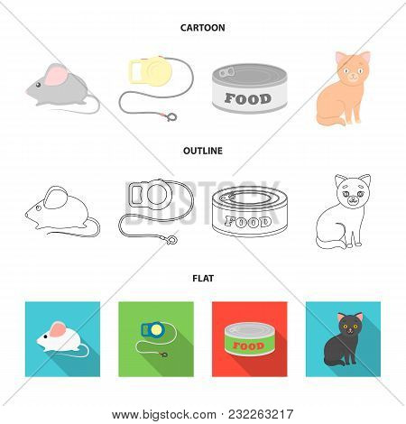 Mouse, Pet Leash, Pet Food, Kitten. Cat Set Collection Icons In Cartoon, Outline, Flat Style Vector