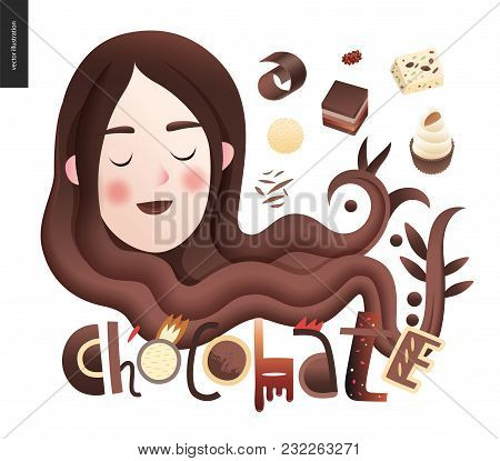 Love Spring Chocolate Slogan - Lettering Composition With A Girl Portrait And Bonbons