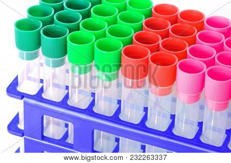 Set Of Chemical Test Tubes Of Different Colors. Chemical Flasks For Laboratory Testing Isolated On W