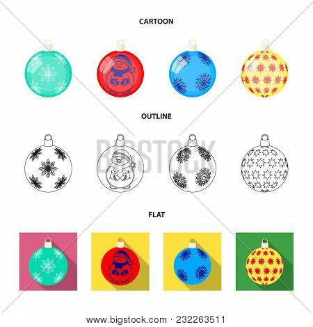 New Year Toys Cartoon, Outline, Flat Icons In Set Collection For Design.christmas Balls For A Treeve