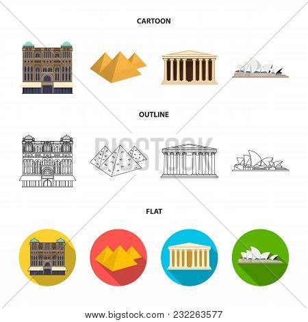 Sights Of Different Countries Cartoon, Outline, Flat Icons In Set Collection For Design. Famous Buil