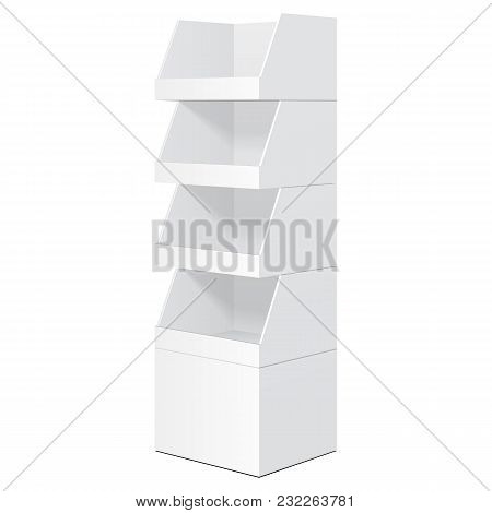 White Tabletop Stand, Cardboard Floor Display Rack For Supermarket Blank Empty Displays With Shelves Products Mock Up On White Background Isolated. Ready For Your Design. Product Packing. Vector EPS10 poster