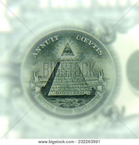 A Close-up Of The Dollar Part, All-seeing Eye. The Concept Of Close-up. Currency Of The Usa. Vignett
