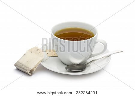 Cup Of Tea With Tea Bag On White Background