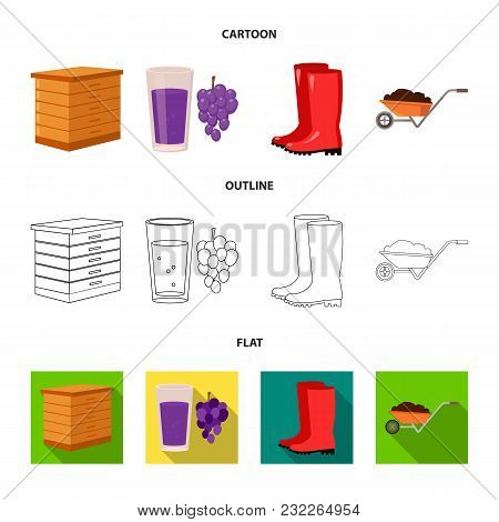 Hive, Grapes, Boots, Wheelbarrow.farm Set Collection Icons In Cartoon, Outline, Flat Style Vector Sy