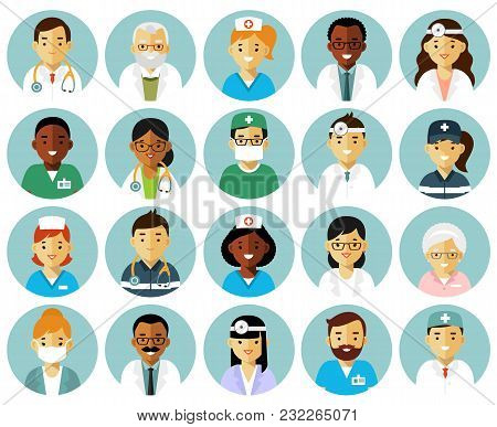Practitioner Young Doctors Man And Woman Round Icons. Medical Staff.