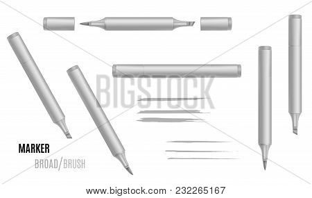 Marker Vector Illustration. Double-sided Realistic Marker. Eps 10