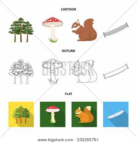Pine, Poisonous Mushroom, Tree, Squirrel, Saw.forest Set Collection Icons In Cartoon, Outline, Flat