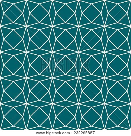 Green Teal Geometric Paper Pattern Seamless Background. Vector Illustration.