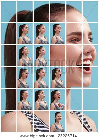 The Collage Of Different Human Facial Expressions, Emotions And Feelings Of Young Woman. Happy Busin