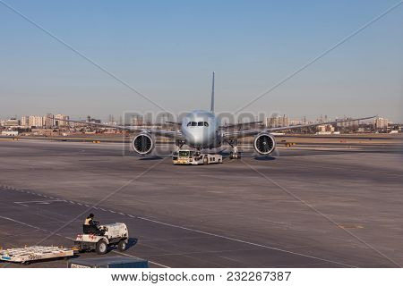 Toronto, Canada - March 20, 2018: Air Canada Embraer 190 Regional Passenger Jets Is On The Runway At